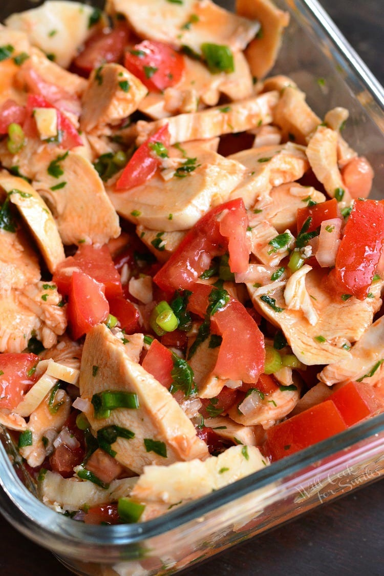 Spicy Mexican Chicken Salad in a baking dish