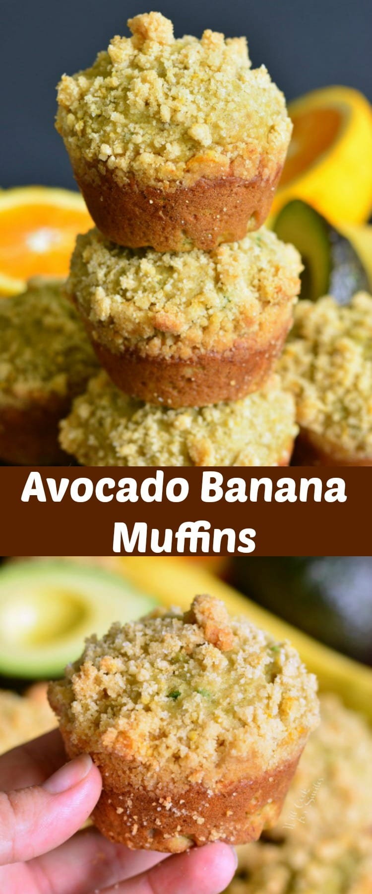 Avocado Banana Muffins with Orange Streusel. Soft, comforting banana muffins made with an addition of avocado, orange essence, and topped with sweet, orange flavored streusel. #muffins #breakfast #avocado #banana #snack #easybreakfast #orange