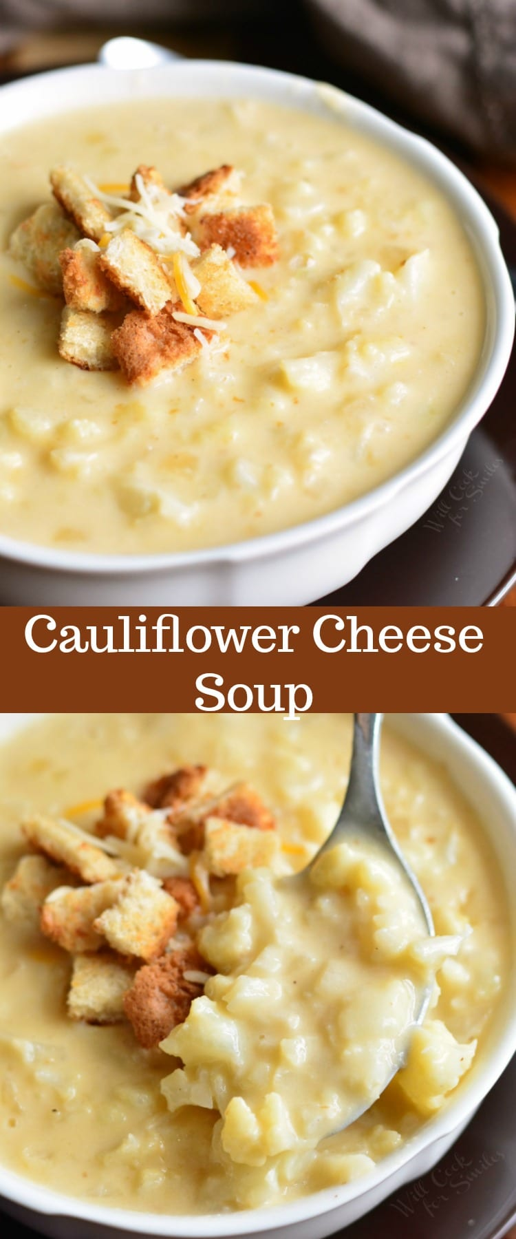 Cauliflower Cheese Soup. This simple cauliflower cheese soup recipe takes only about 40 minutes to make and you will be enjoying this cheesy, creamy, hearty soup. #soup #cauliflower #cheesy #homemade #easy #comfortfood