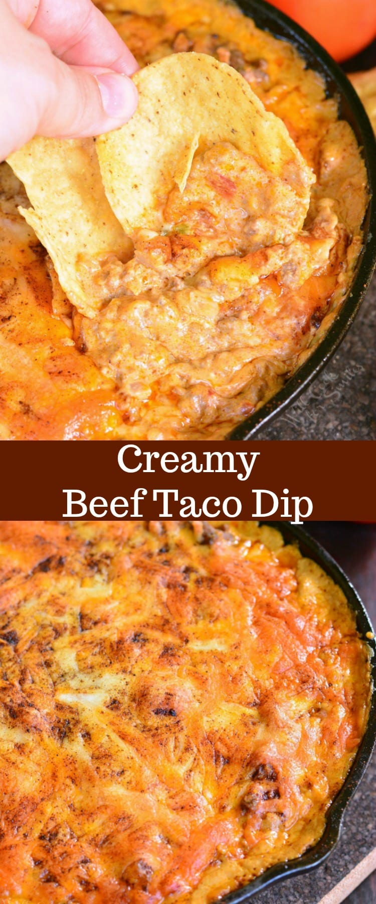Creamy Beef Taco Dip. Creamy, cheesy, delicious hot beef taco dip recipe that will be perfect for a party or a family dinner. This beef taco dip is made with ground beef, veggies, cheese, and some more cheese. #dip #homemade #hot #beef #groundbeef #taco #cheesy #creamy #appetizer