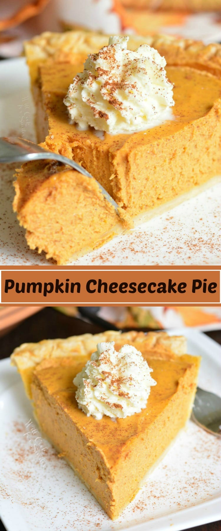 This PUMPKIN CHEESECAKE PIE is a combination of a classic pumpkin pie with silky creaminess of a cheesecake. This easy dessert is perfect to serve at holiday dinners or just because you feel like having a pumpkin treat. #pumpkin #pie #cheesecake #dessert #holiday #pumpkinpie