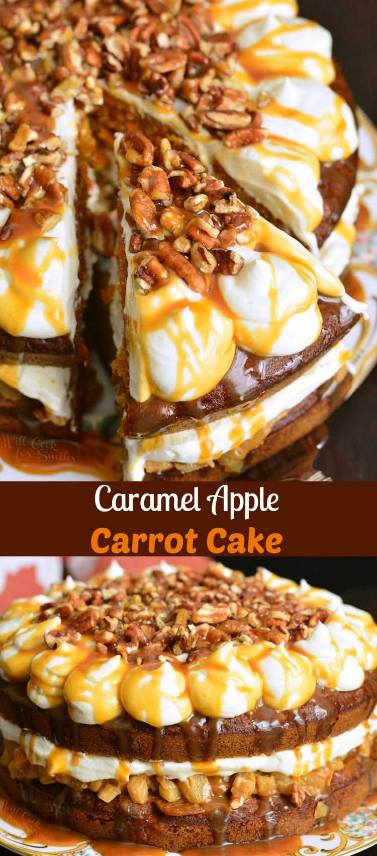 Caramel Apple Carrot Cake. This carrot cake is soft and moist, filled with caramel apples in the cake and in the filling. It's frosted with cream cheese frosting and topped with crushed pecans and more caramel. #cake #carrotcake #applecake #caramelapple #fallcake #holidaydessert