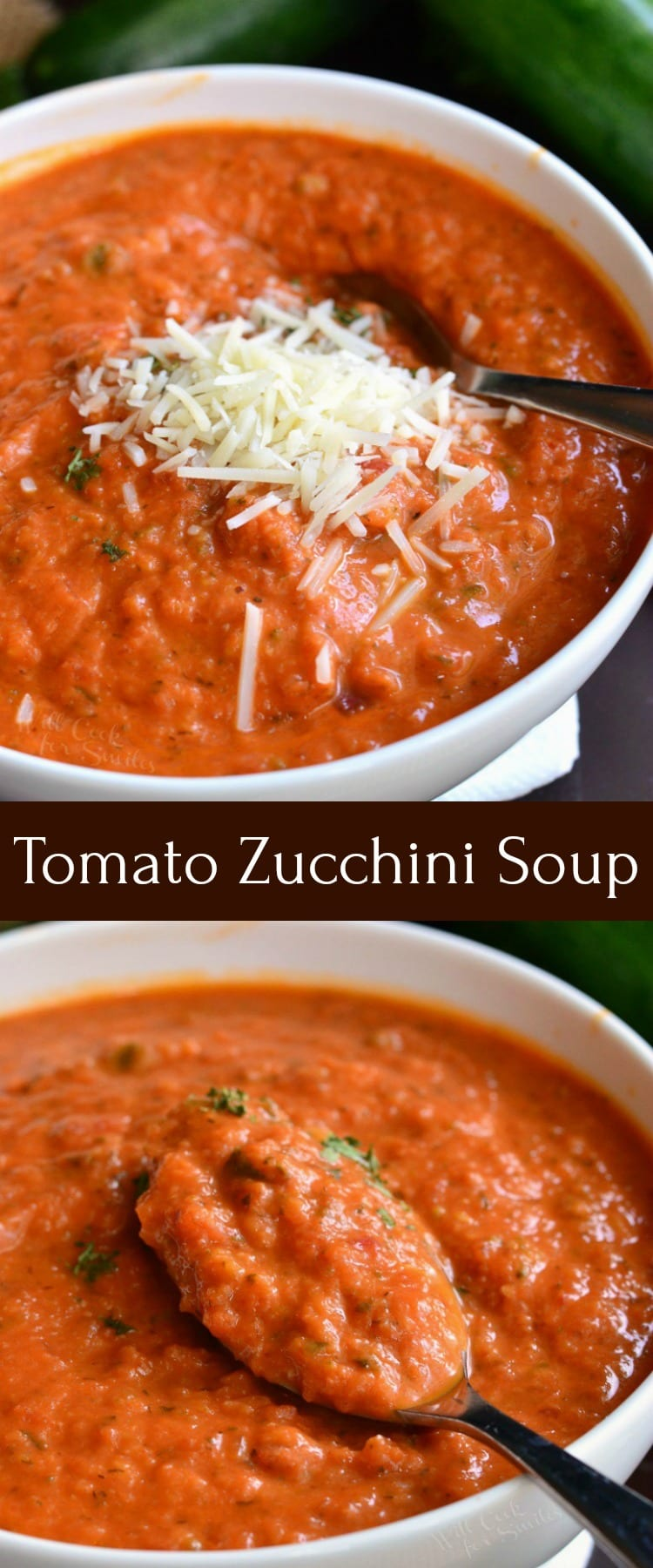 Zucchini Tomato Soup Recipe. Delightful, comforting, and easy tomato soup made with addition of fresh zucchini. It's creamy and made with some fresh grated Parmesan cheese. Serve it with some grilled cheese sticks for a fun lunch. #soup #tomatosoup #zucchini #zucchinisoup #vegetablesoup