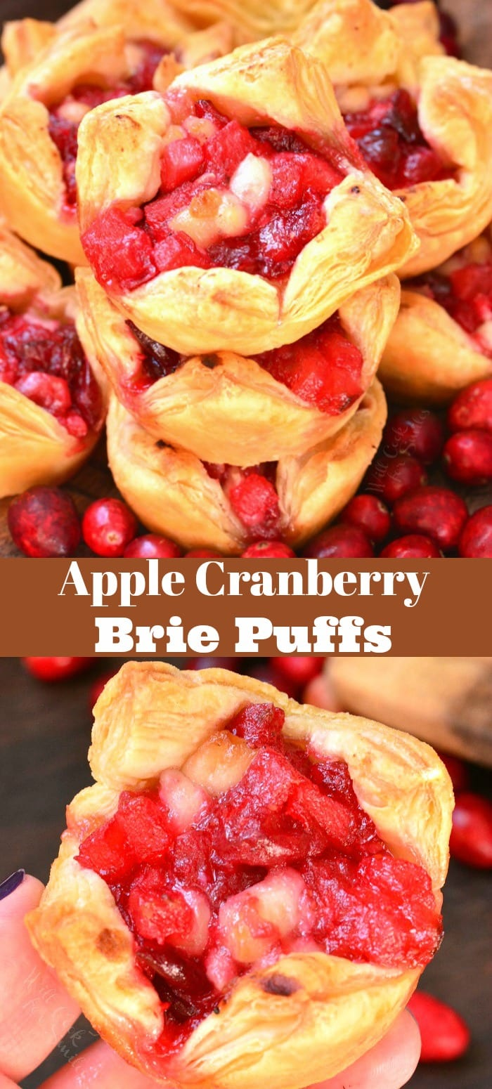 Apple Cranberry Brie Puff Pastry. These cranberry brie puffs are made with fresh cranberries, apple, and nutmeg filling, gooey Brie cheese, and all stuffed inside a flaky puff pastry. #cranberry #appetizer #snack #apple #brie #puffs #bites #puffpastry
