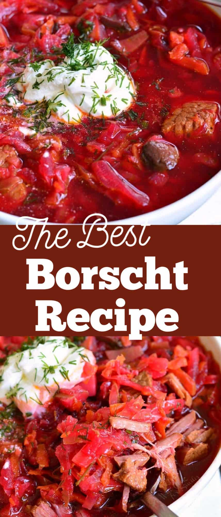 collage image of two closeups of Borscht soup in a bowl and spooning some soup