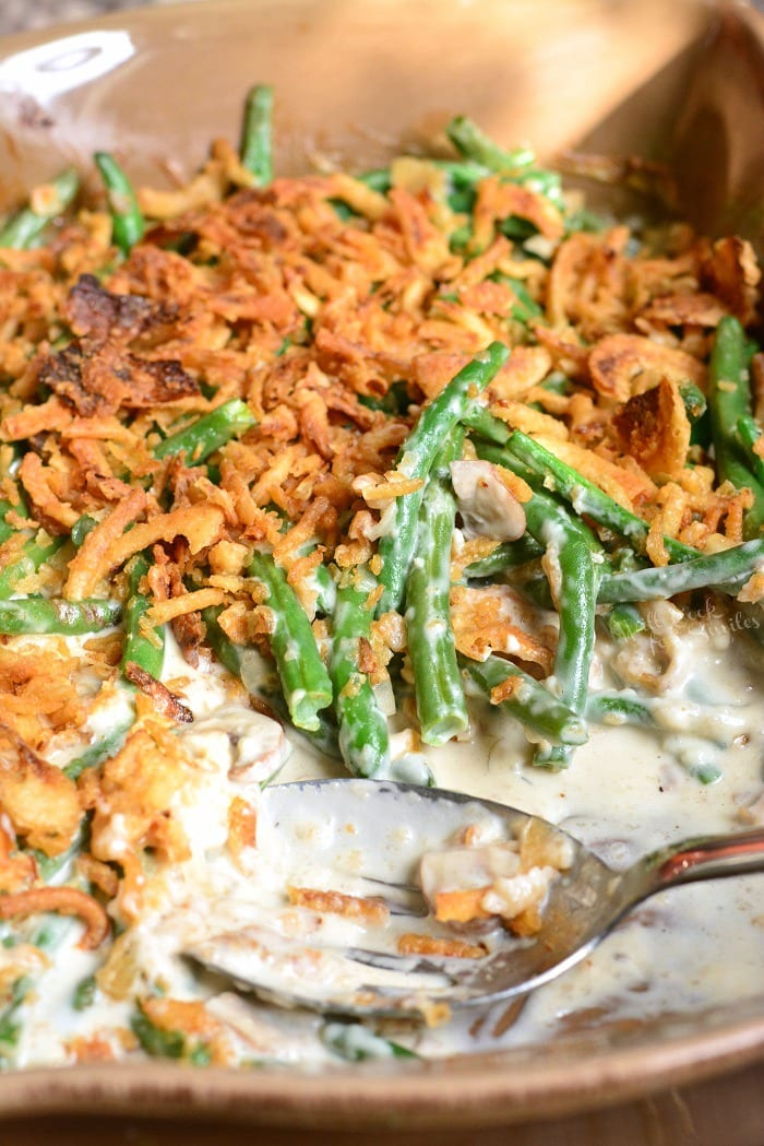Homemade Green Bean Casserole. This casserole is made with fresh green beans, creamy mushrooms sauce, and French's fried onions. #greenbeans #casserole #sidedish #sides