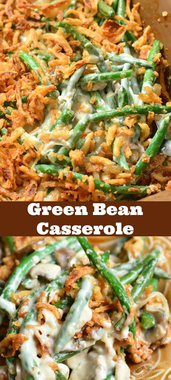 Green Bean Casserole Recipe. This casserole is made with fresh green beans, creamy mushrooms sauce, and French's fried onions. #greenbeans #casserole #sidedish #sides