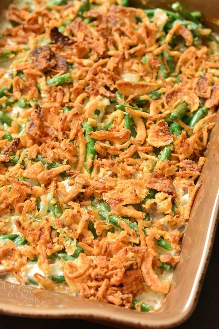 Green Bean Casserole in a baking dish