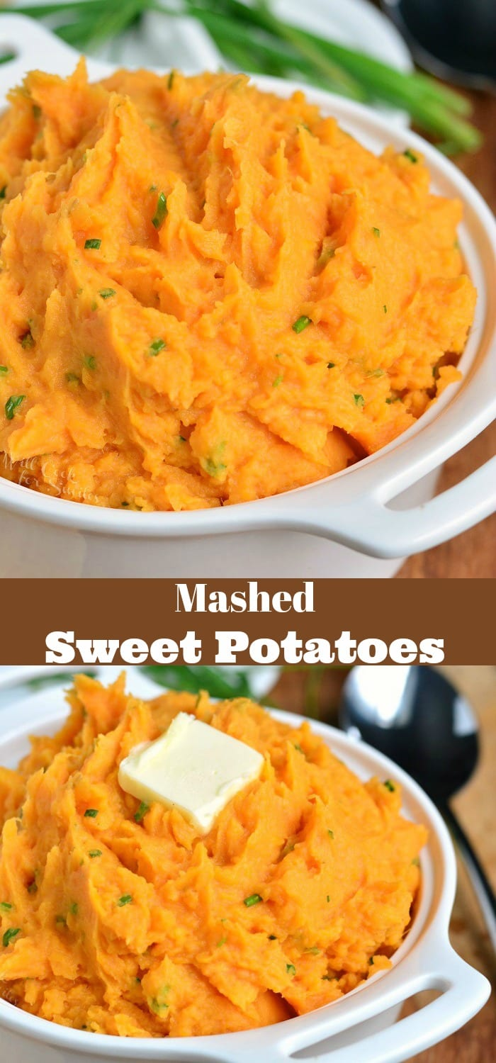 Mashed Sweet Potatoes Recipe. These mashed sweet potatoes are not too sweet and perfectly compliment any main dish. Rich and creamy made with butter, sour cream, and chives. #sweetpotatoes #bakedsweetpotatoes #instantpotsweetpotatoes #crockpotsweetpotatoes #sidedish