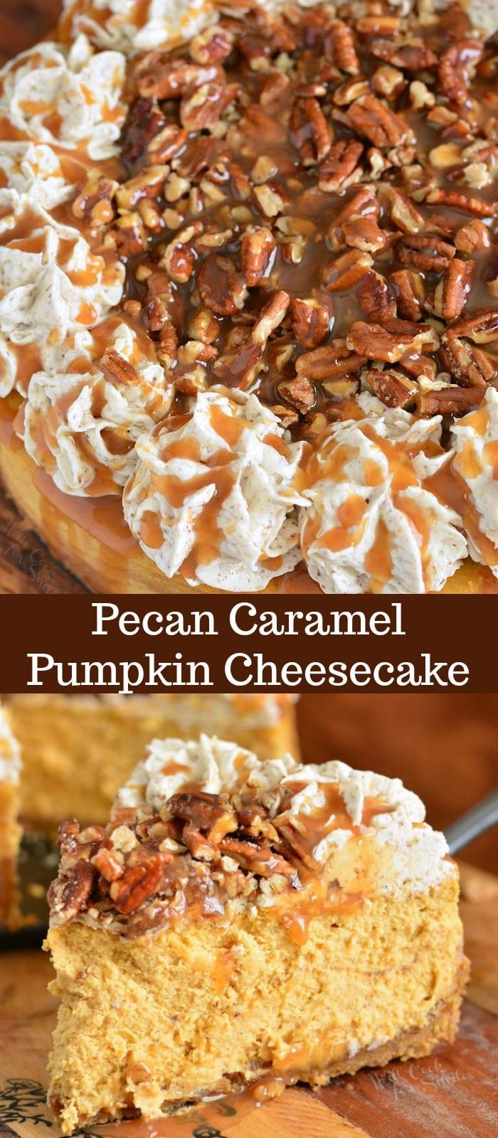 Pecan Caramel Pumpkin Cheesecake on collage