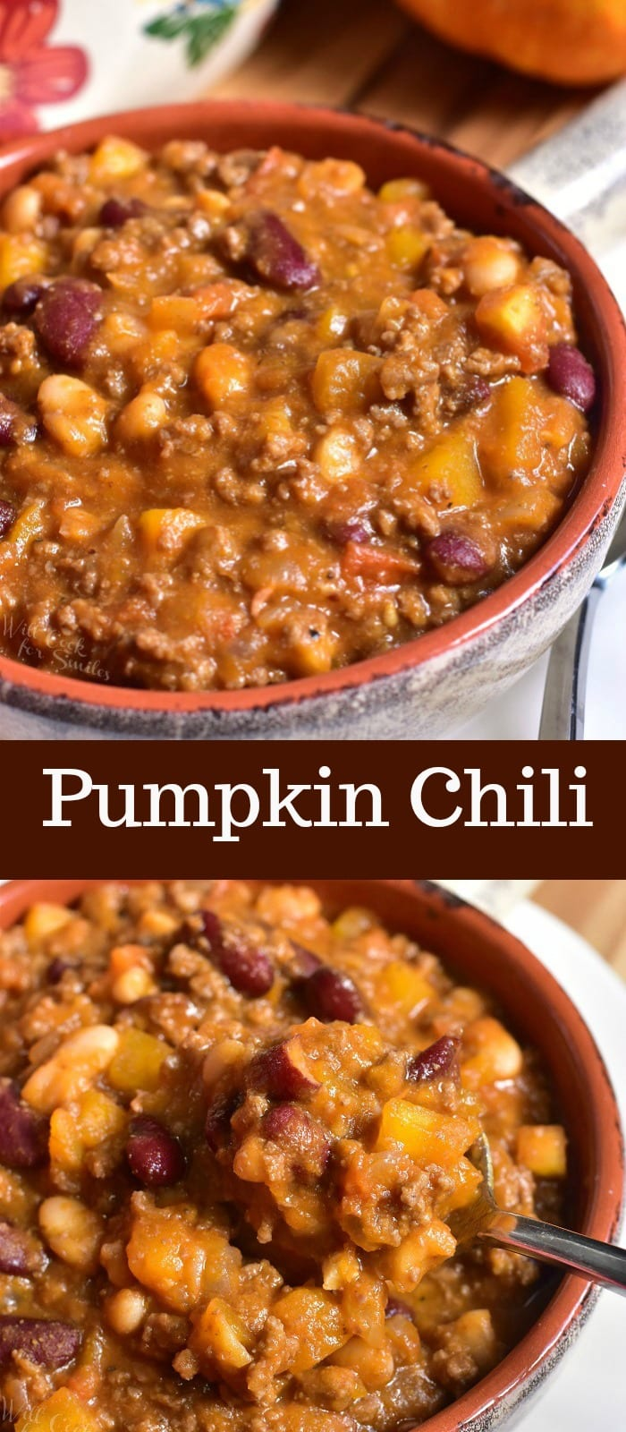 Pumpkin Chili. Seasonal twist on a classic chili recipe. This beef chili is made with two types of beans, veggies, and a combination of fresh pumpkin and pumpkin puree. #chili #beefchili #pumpkinchili #groundbeef