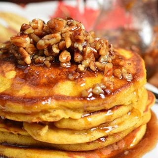 Pumpkin Pancakes with Cinnamon Pecan Syrup