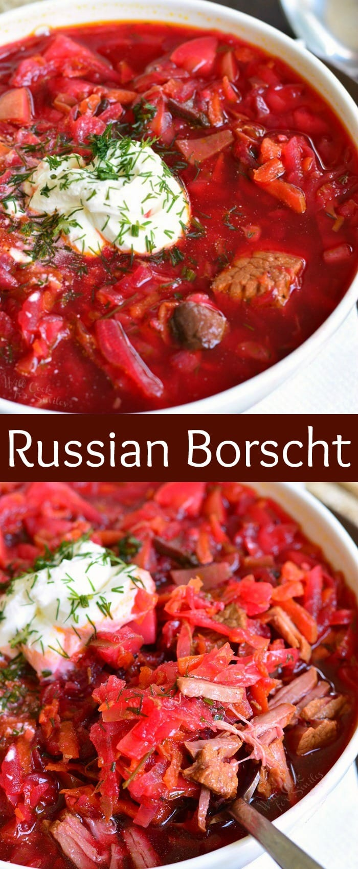 Russian Borscht Recipe. This classic Russian Borscht recipe is healthy, nutritious, and comforting soup for colder season. Traditional Russian beet soup made with cabbage, beef, and many other vegetables. #soup #cabbagesoup #beefsoup #borscht #russiansoup #russianrecipes