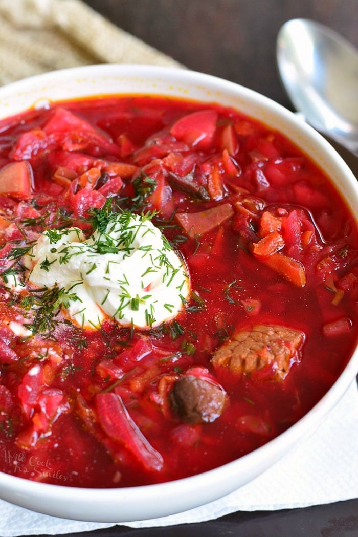 Russian Borscht Recipe. This classic Russian Borscht soup is healthy, nutritious, and comforting soup for colder season. Traditional Russian beet soup made with cabbage, beef, and many other vegetables. #soup #cabbagesoup #beefsoup #borscht #russiansoup #russianrecipes