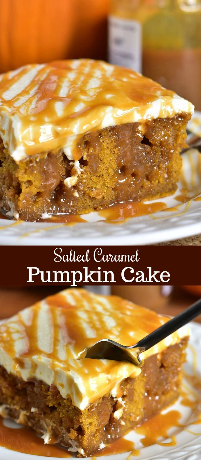 Salted Caramel Pumpkin Cake Recipe. Soft, moist pumpkin cake soaked with salted caramel and topped with smooth cream cheese frosting. This pumpkin cake is paired beautifully with salted caramel flavors and creamy frosting in each bite. #cake #Pumpkin #pumpkincake #caramelcake #saltedcaramel