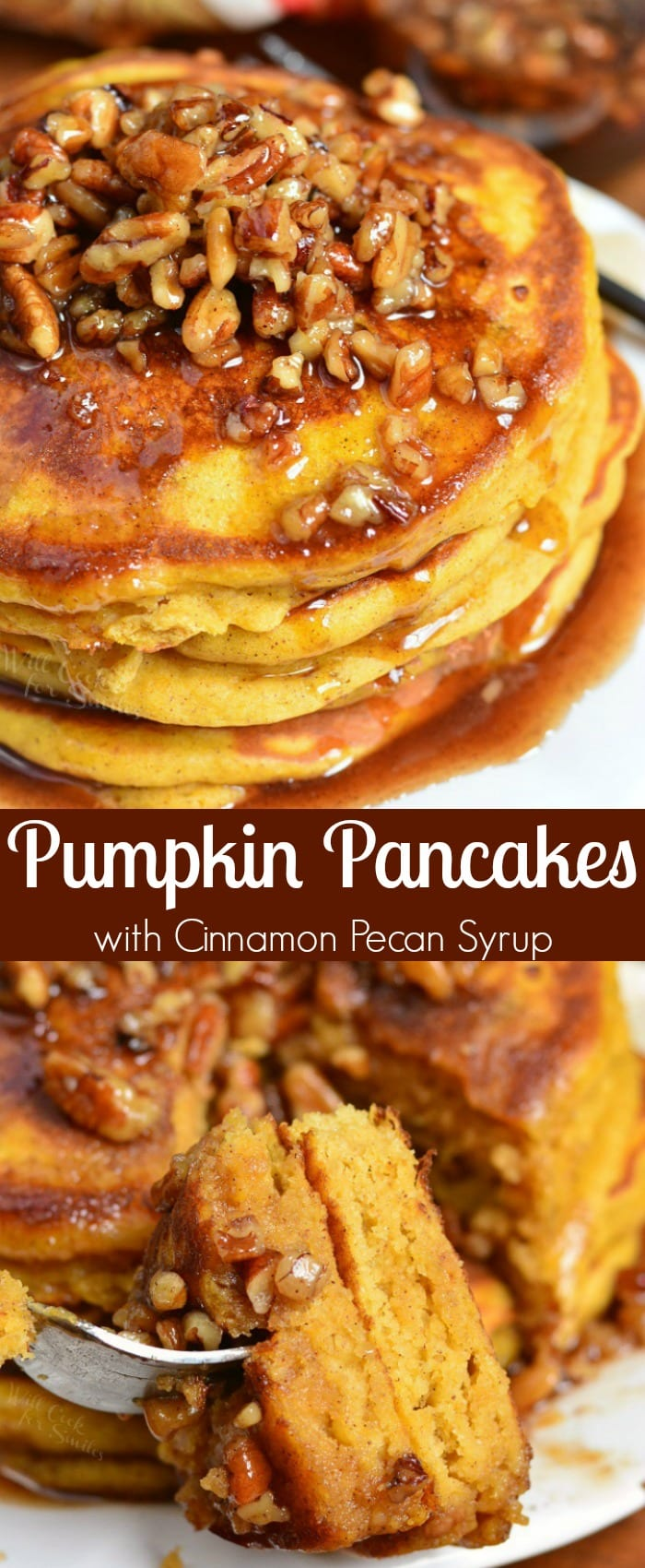 Pumpkin Pancakes with Cinnamon Pecan Syrup. These soft, fluffy buttermilk pancakes are made with pumpkin puree and spices. Over the top of these easy pumpkin pancakes is a simple Cinnamon Pecan Syrup. #pancakes #breakfast #pumpkin #pumpkinpancakes #syrup #fallrecipes #fallbreakfast
