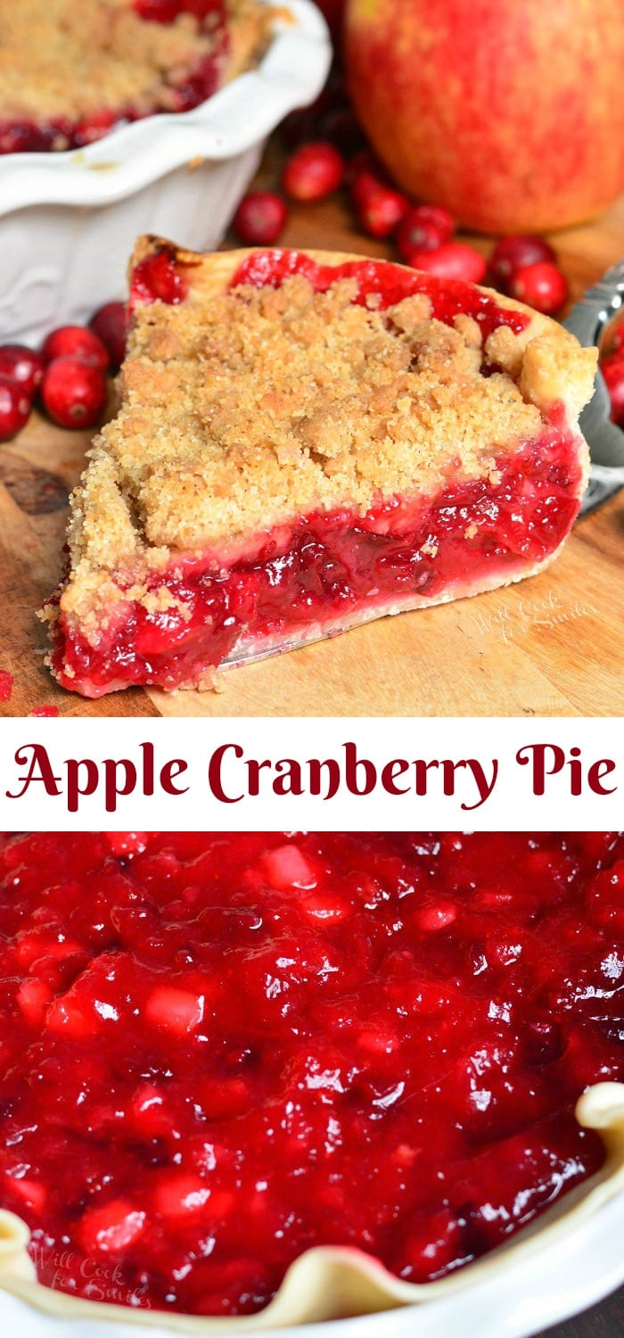 This Apple Cranberry Pie is a juicy, sweet and tart combination of fresh cranberries and apples filled inside a pie crust and topped with sweet crumble. #pie #dessert #cranberry #cranberrypie