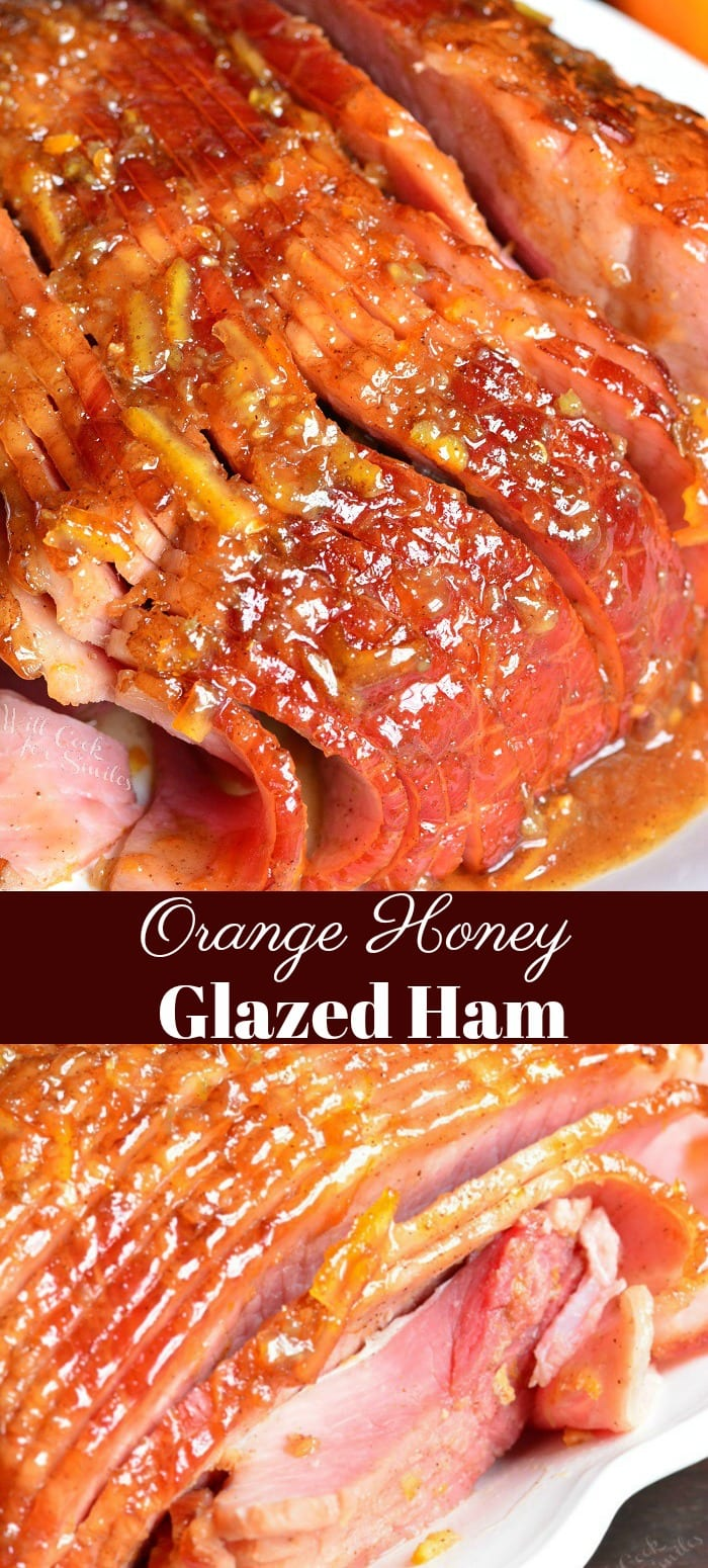 Baked Ham with Orange Honey Ham Glaze. Juicy, tender ham baked in the oven and glazed with an amazing orange glaze. #ham #glazedham #bakedham #hamglaze #orangeglaze