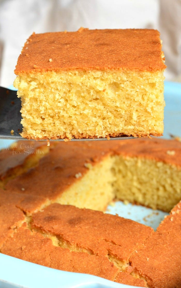 Buttermilk Cornbread. This buttermilk cornbread is soft and moist on the inside with a little crunch on the top. Cornbread is made with buttermilk and slightly sweetened with honey and sugar. #cornbread #bread #sidedish #sides