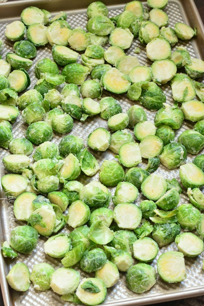 uncooked Brussels Sprouts on a cookie sheet