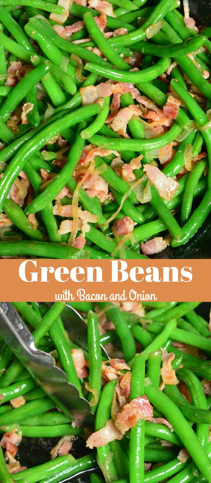 Green Beans with Bacon and Onion. Fresh green beans make a wonderfully easy side dish to any meal. These green beans are blanched and sauteed with bacon and onions. #sidedish #greenbeans #bacon #sides