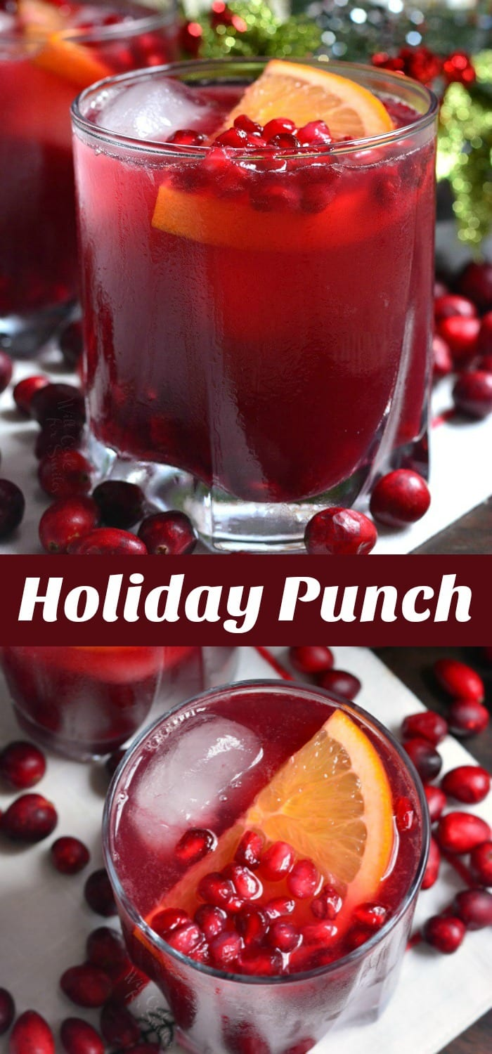 Christmas Punch in a glass with pomegranate and orange slice   collage