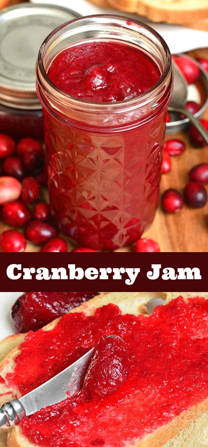 Homemade Cranberry Jam. This simple cranberry jam is made with only 4 ingredients and makes a perfect addition to many breakfast dishes. #cranberry #jam #breakfast