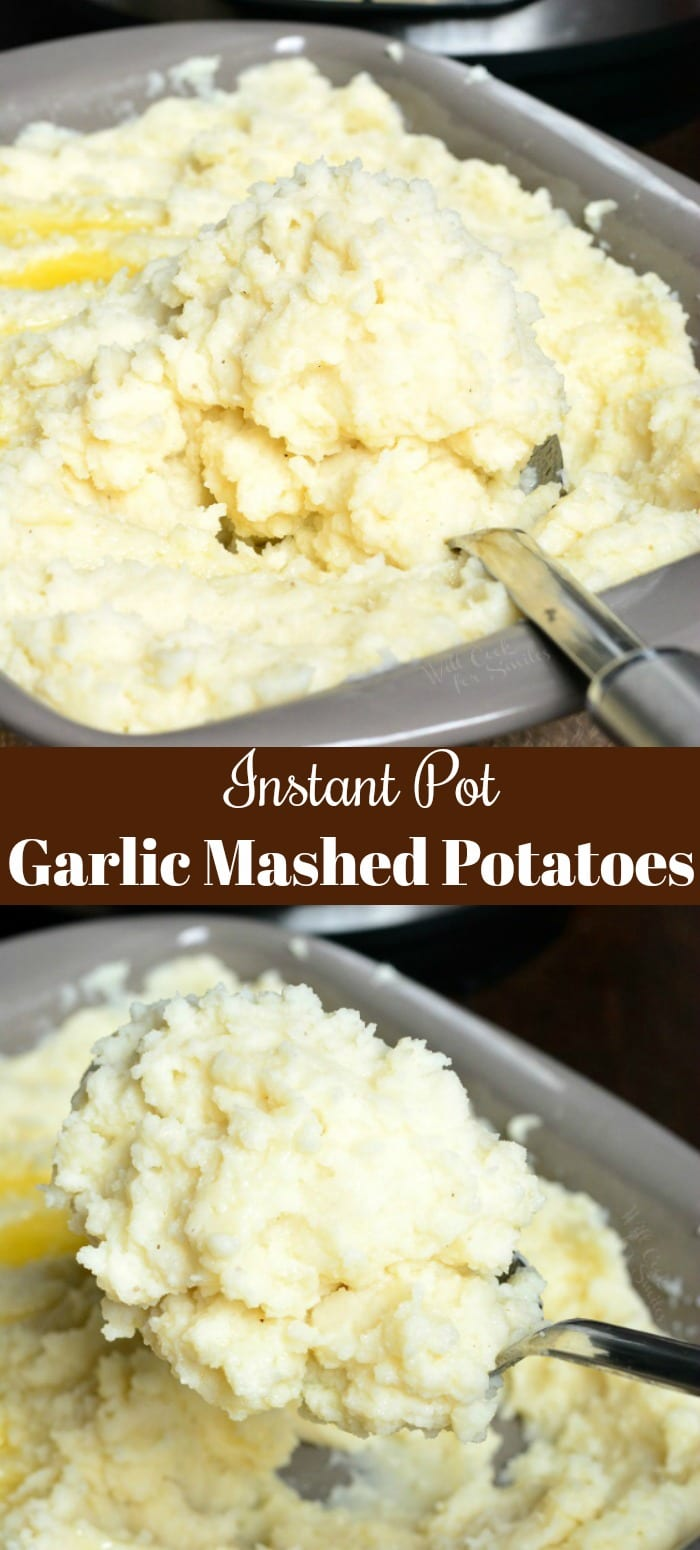 Instant Pot Garlic Mashed Potatoes. Soft and fluffy Garlic Mashed Potatoes cooked easily in an instant pot. This comforting side dish is ready in about 30 minutes. #potatoes #mashedpotatoes #sidedish #sides