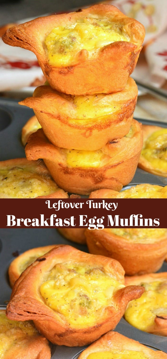 Leftover Turkey Breakfast Egg Muffins are absolutely addicting and quite easy to make. Crescent dough is folded into cups and filled with leftover turkey, stuffing, and eggs. #thanksgiving #leftovers #breakfast #eggs #turkey #leftoverturkey