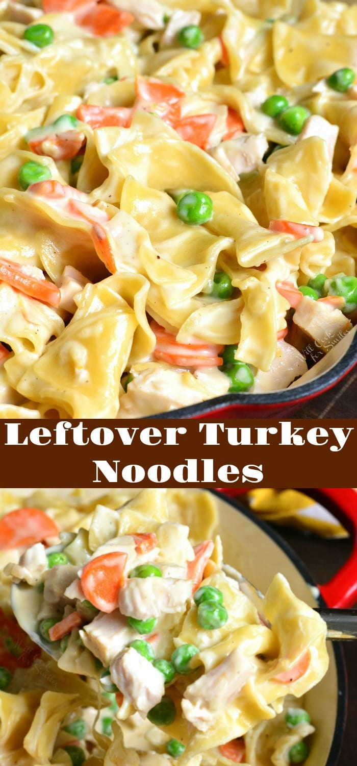Easy Leftover Turkey Noodle pasta dinner collage both of turkey noodles in a stock pot