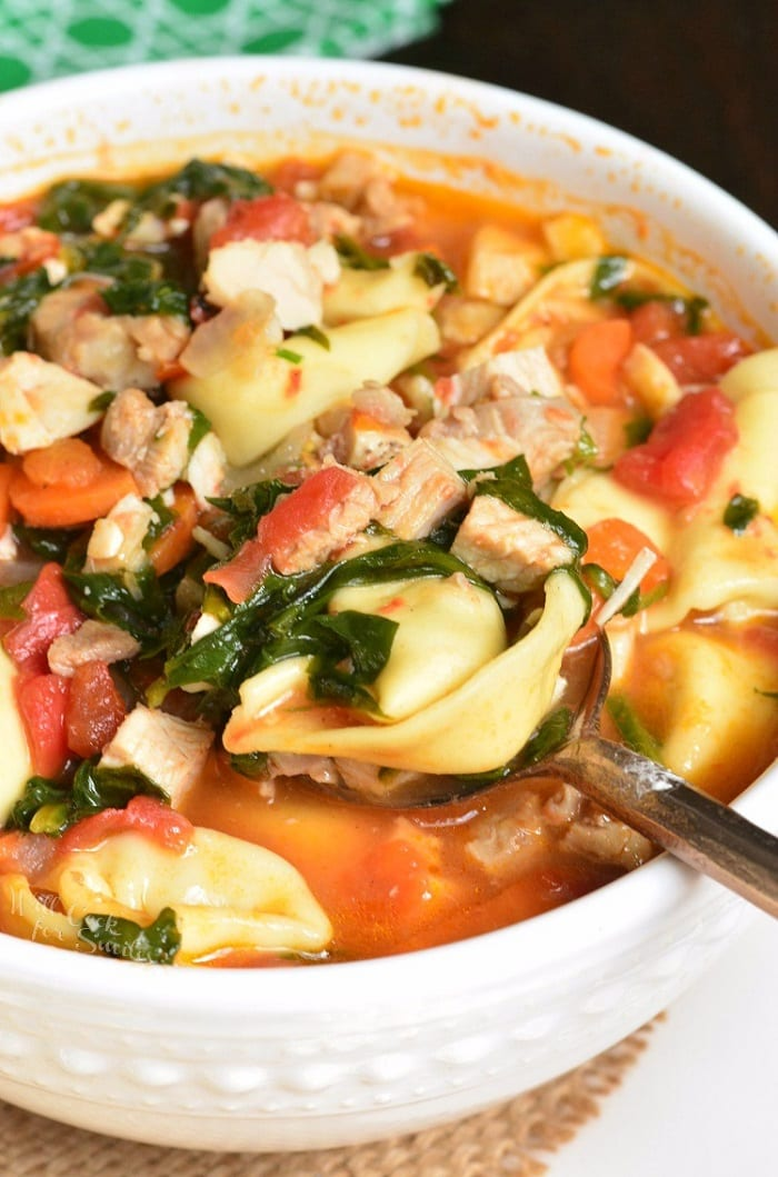 Leftover Turkey Tortellini Soup in a bowl with a spoon