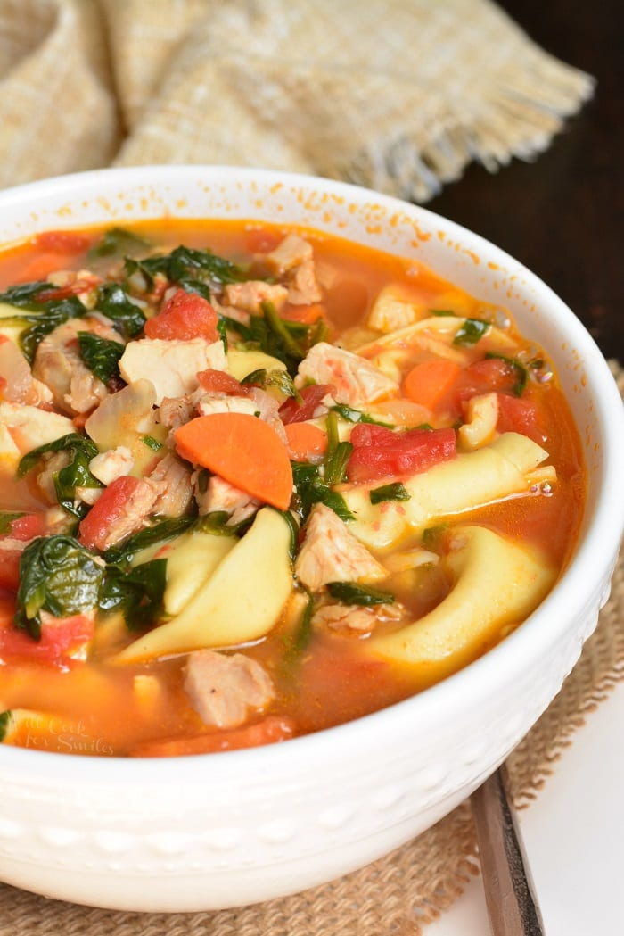 Leftover Turkey Tortellini Soup in a bowl