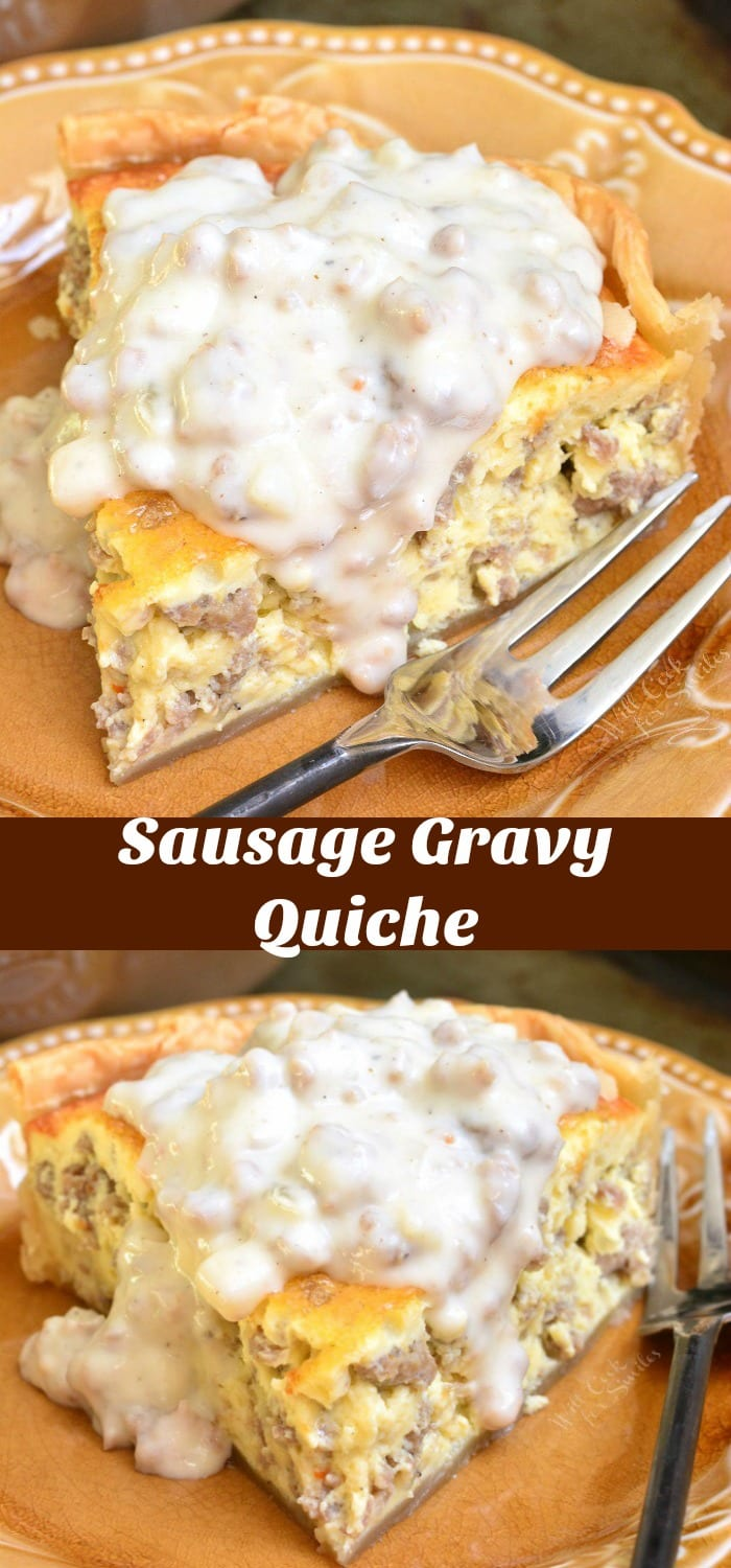 Quiche with Sausage Gravy. Creamy, fluffy sausage quiche made extra comforting by addition of homemade sausage gravy on top. #breakfast #brunch #quiche #eggs #sausage #gravy
