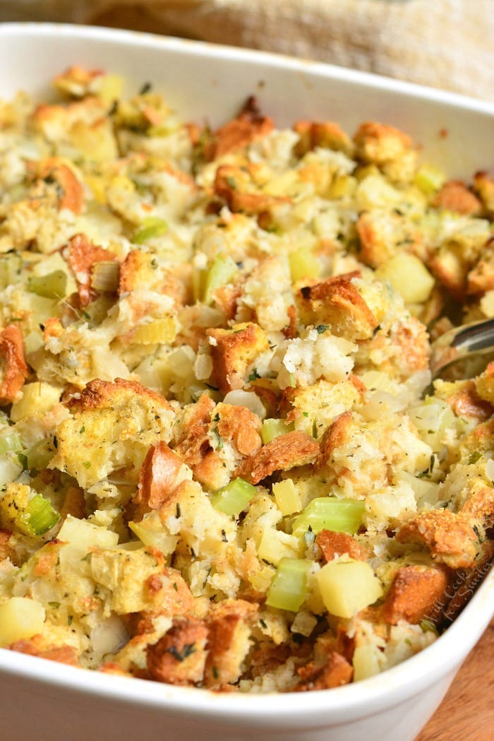 Stuffing Recipe. This stuffing is made with Italian bread, apples, celery, onions, and herbs. #sidedish #stuffing #bread #thanskgiving #dinner #sides