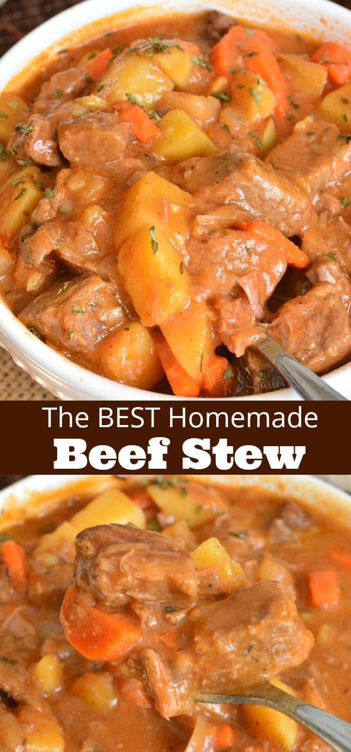 Beef Stew is a classic comforting dish that's packed with tender beef, onions, carrots, potatoes, and delicious thick broth. #beef #dinner #stew #beefstew #homemade
