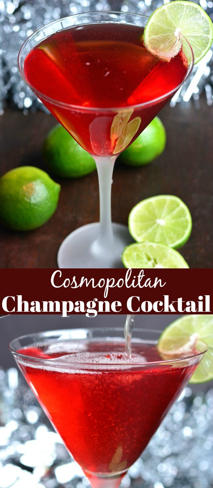 Cosmopolitan Champagne Cocktail. Perfect cocktail to serve at any party because of its pleasant mild flavor. It's made with cranberry juice, vodka, orange liqueur, lime juice, and champagne. #cocktail #drink #champagne #cosmopolitan