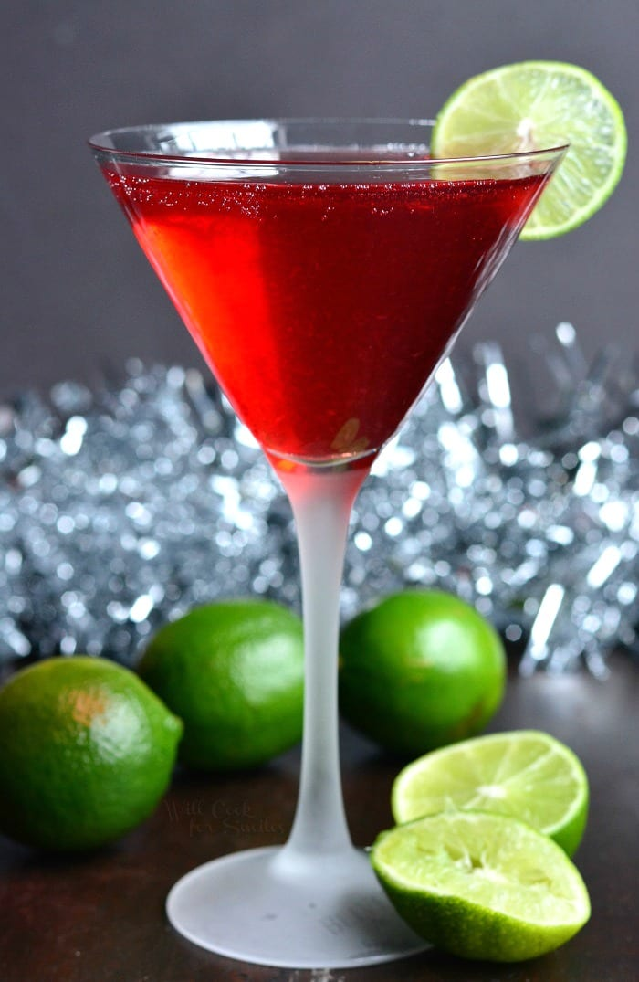 Cosmopolitan cocktail made into a champagne cocktail. Perfect cocktail to serve at any party because of its pleasant mild flavor. #cocktail #drink #champagne #cosmopolitan