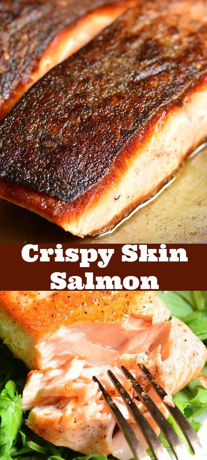 Crispy Skin Salmon. Simple and exquisite pan-seared salmon that takes about 10 minutes to prepare and will go perfectly with any side dish. #salmon #dish #dinner #easydinner #light #healthy