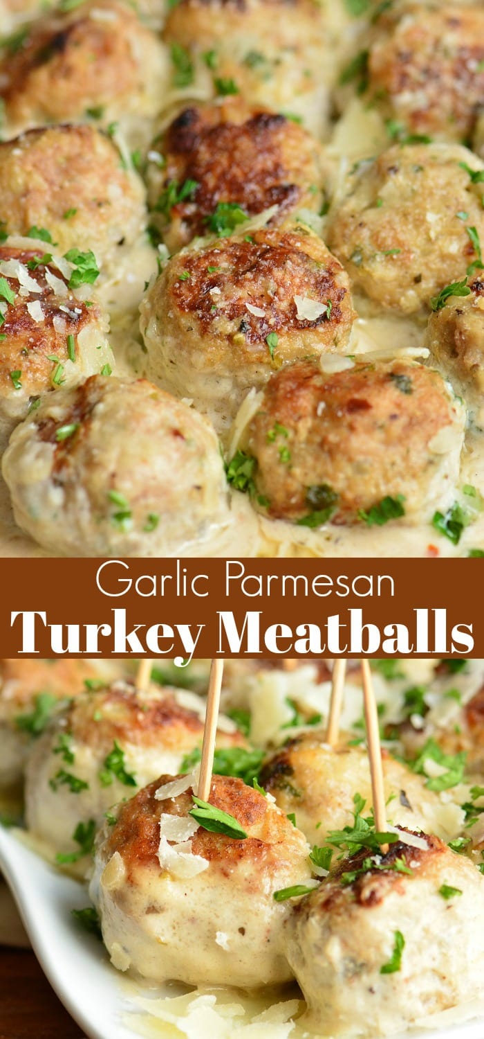 Juicy Turkey Meatballs are packed with flavors of garlic, Parmesan cheese, and herbs. Paired perfectly with a simple Garlic Parmesan Cream Sauce. #meatballs #turkey #turkeymeatballs #sauce #creamsauce #dinner #appetizer