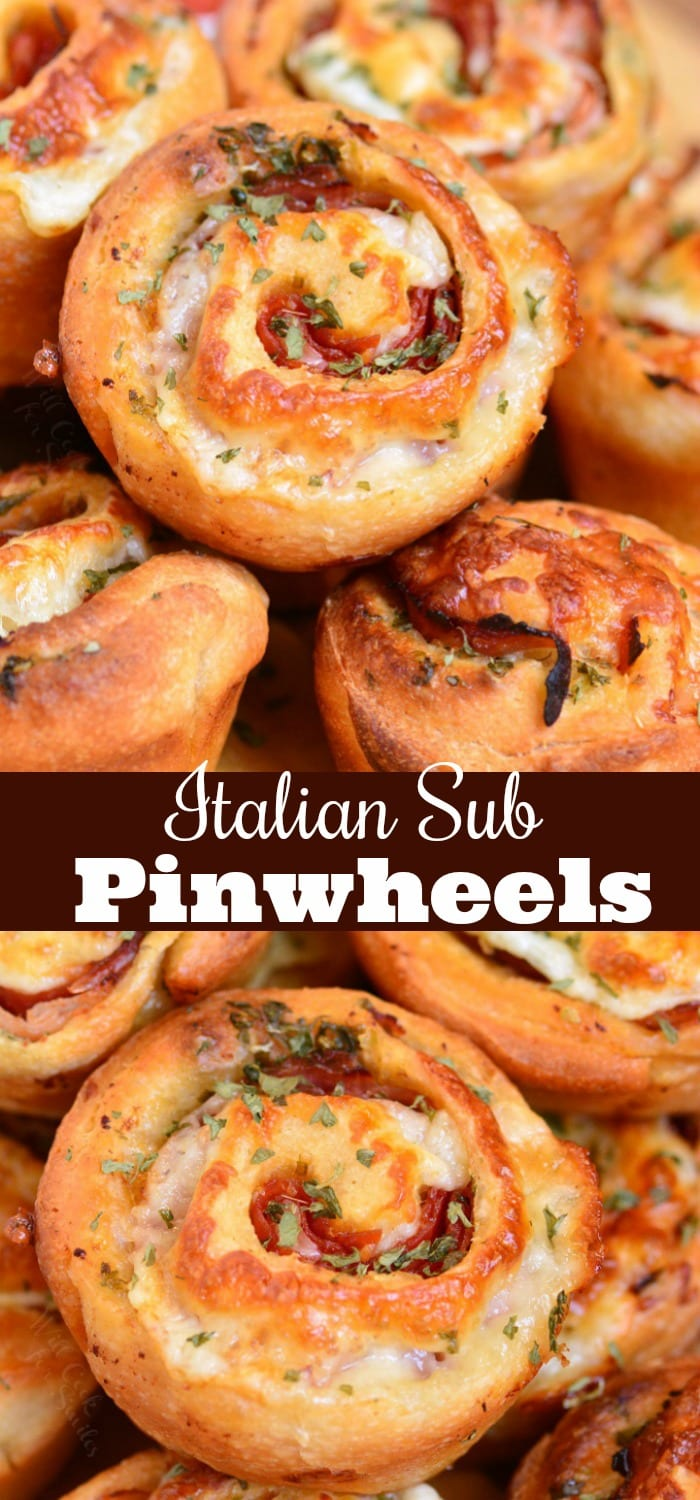 Italian Sub Pinwheels. These pinwheels are easily made in 30 minutes with ham, salami, pepperoni, herbs, and mozzarella cheese all rolled into pizza dough and baked to golden perfection. #appetizer #pinwheels #rollups #ham #salami #italiansub