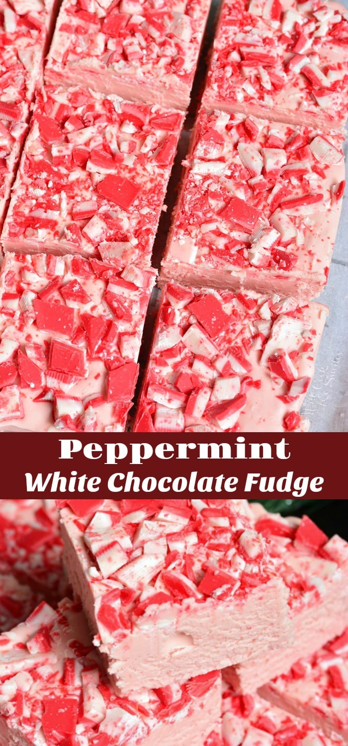 Peppermint White Chocolate Fudge. Amazing holiday white chocolate fudge! This Peppermint White Chocolate Fudge had an delightful soft texture because it's made with addition of marshmallow fluff. #fudge #chocolate #whitechocolate #peppermint #dessert