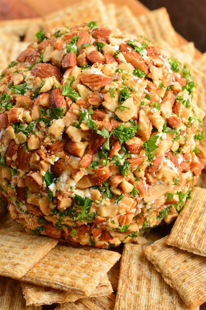 Cheese Ball. Classic holiday appetizer that's very easy to prepare and tastes amazing. This cheese ball has a rich ranch flavor and lots of delicious sharp cheddar cheese. #appetizer #cheese #cheeseball #ranch #cheddar