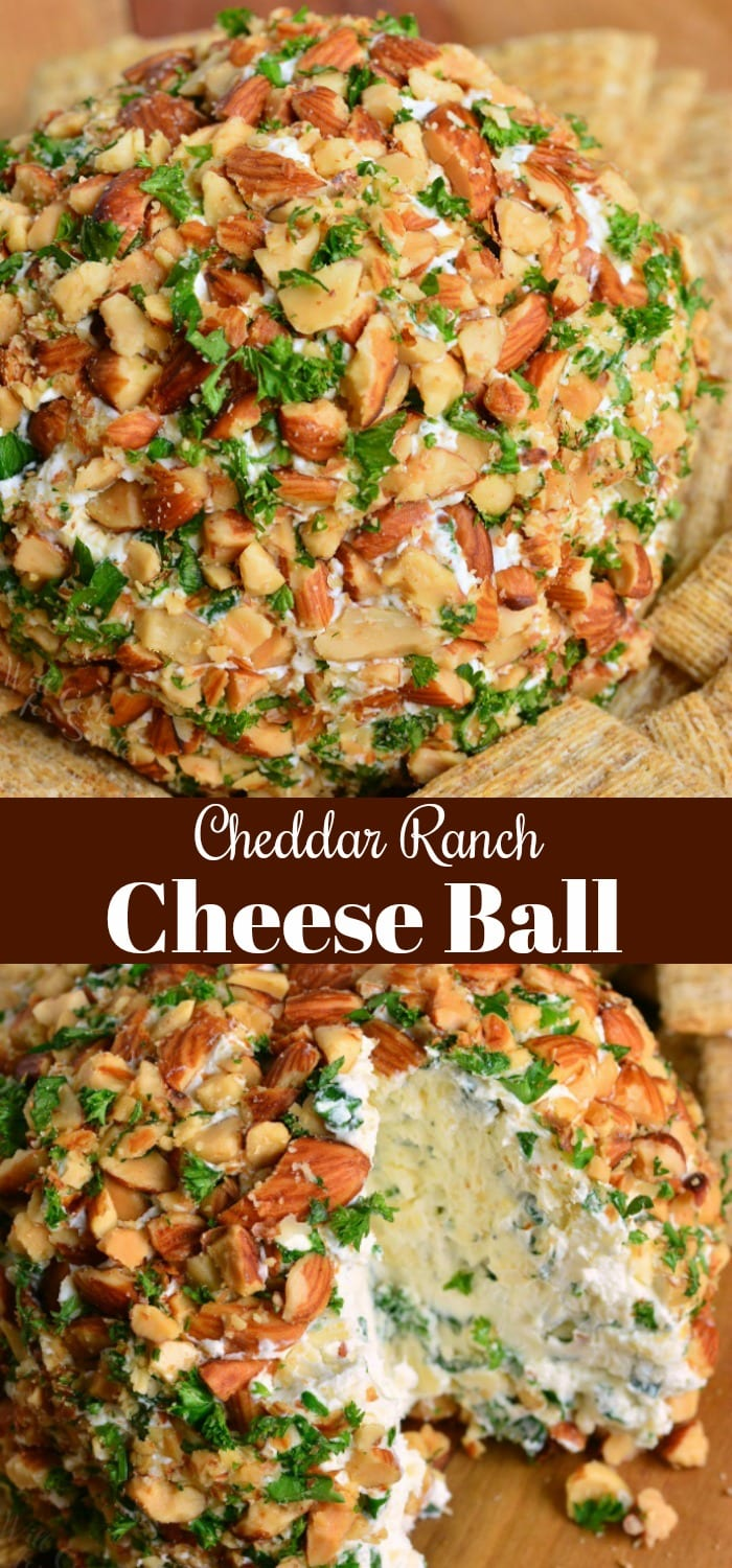 Ranch Cheddar Cheese Ball. Classic holiday appetizer that's very easy to prepare and tastes amazing. This cheese ball has a rich ranch flavor and lots of delicious sharp cheddar cheese. #appetizer #cheese #cheeseball #ranch #cheddar