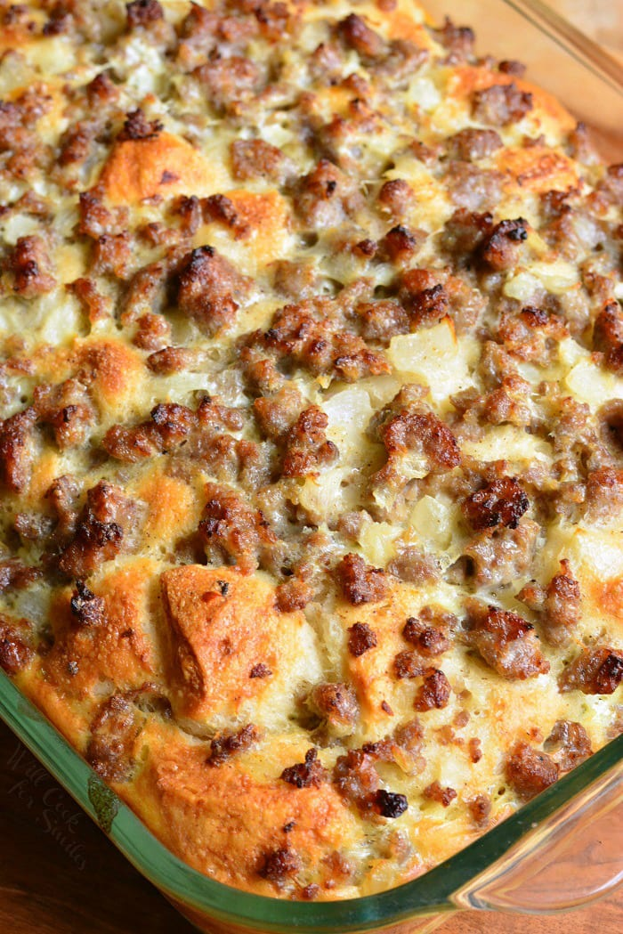 Breakfast Casserole. Perfect for breakfast and brunch, this casserole is made with fluffy biscuits, egg and milk mixture, sausage, and onions. #breakfast #brunch #casserole #sausage #eggs #biscuits