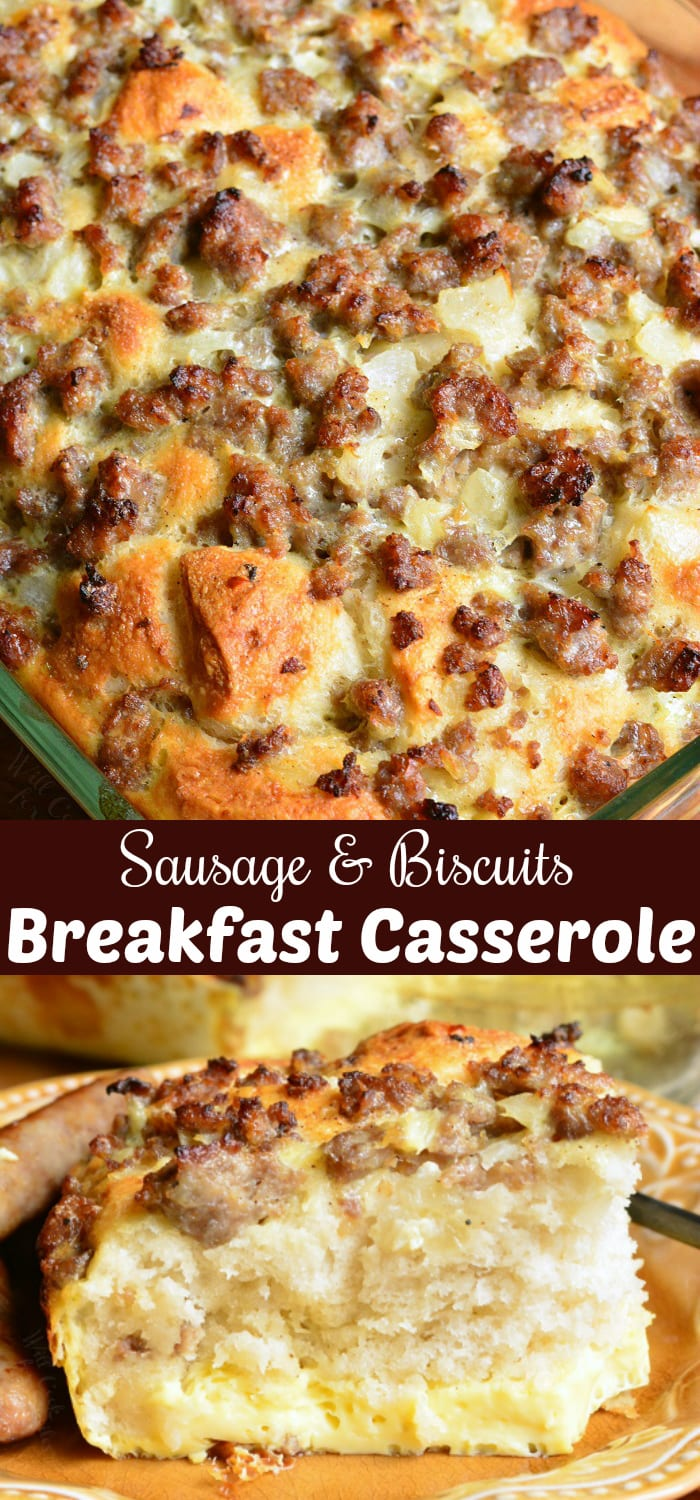 Sausage Breakfast Casserole. Perfect for breakfast and brunch, this casserole is made with fluffy biscuits, egg and milk mixture, sausage, and onions. #breakfast #brunch #casserole #sausage #eggs #biscuits