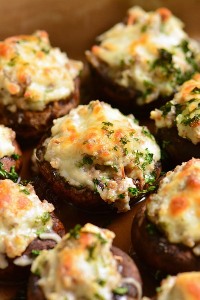 Sausage Stuffed Mushrooms cooked in a baking dish