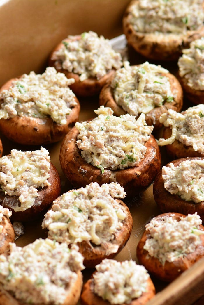 Sausage Stuffed Mushrooms uncooked in a baking dish