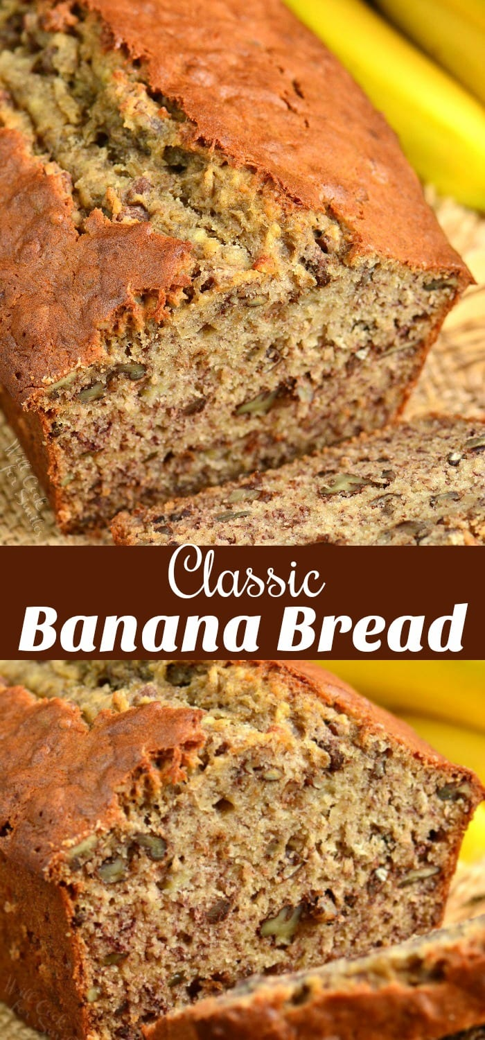 Classic Banana Bread recipe that takes only a few minutes to prepare and tastes amazing every time. #bread #banana #sweetbread #quickbread #bananabread