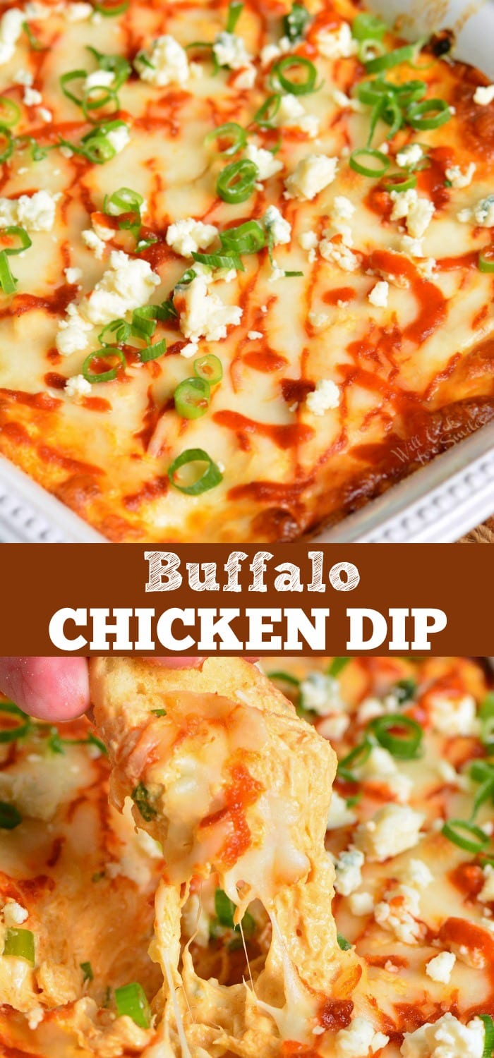 Buffalo Chicken Dip is a perfect party dip made with chicken meat cooked in buffalo wing sauce, cream cheese, Monterrey Jack cheese, and Blue cheese crumbles. #dip #chickendip #appetizer #partyfood #buffalochicken
