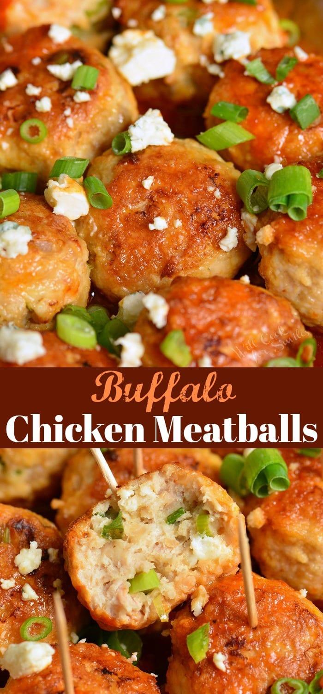 Buffalo Chicken Meatballs collage